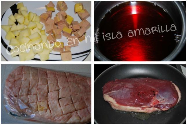 magret de pato con reducción de oporto foie y manzana