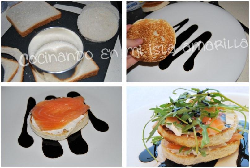 milhojas salmón y queso con rúcula san valentín menú cena