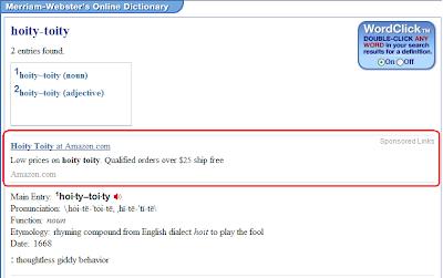 Amazon ad for hoity-toity