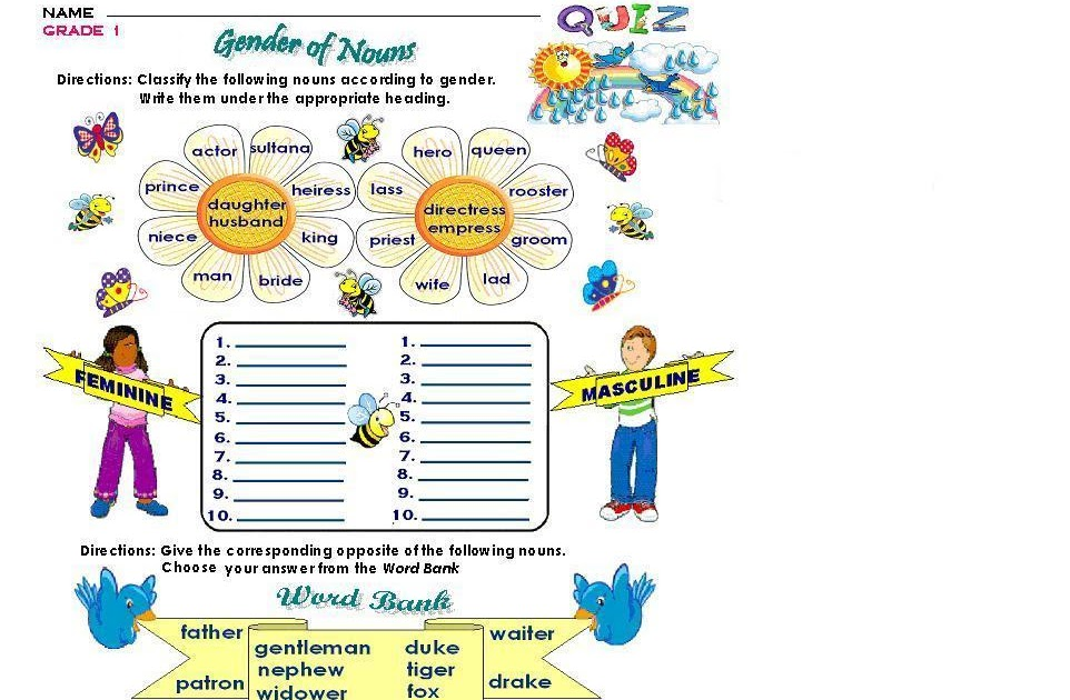 GRAMMAR WORKSHEETS: GRADE 1 - GENDER OF NOUNS
