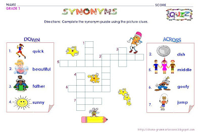 GRAMMAR WORKSHEETS: GRADE 1- SYNONYMS PUZZLE