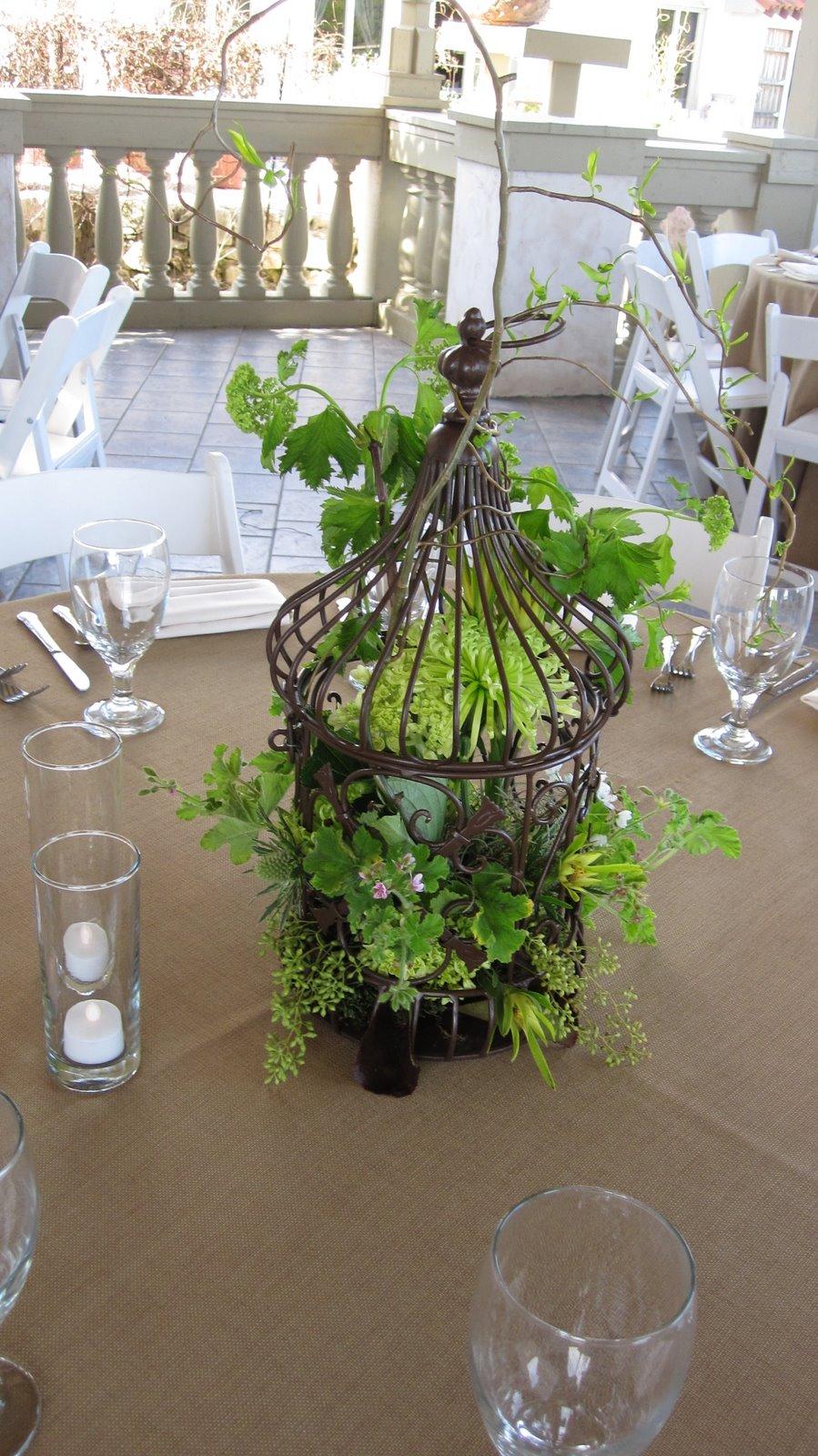 Bouquets of austin birdcage centerpieces