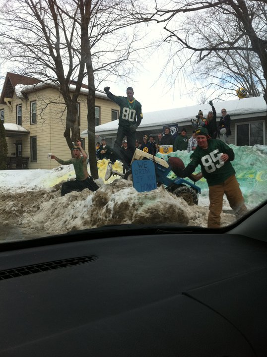 Ken Hannigan gets a funny drive-by shot of some rabid Packers fans