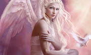 Fantasy Digital Art Green Girl And Bird HD Wallpaper (fantasy girl angel wallpaper wallsbox)