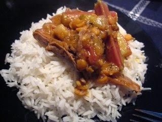 Rhubarb Stew or Khoresht Reevaas