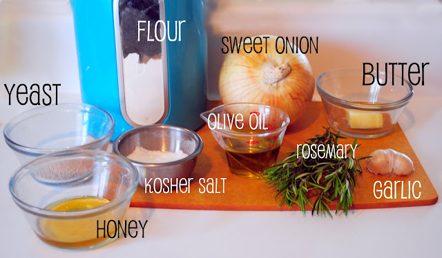 Whole Wheat Rosemary Caramelized Onion Bread ingredients