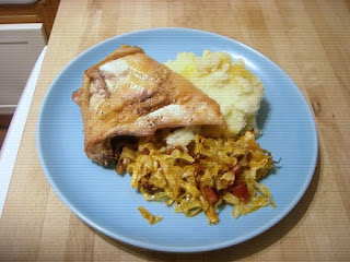 roasted chicken with chorizo & cabbage
