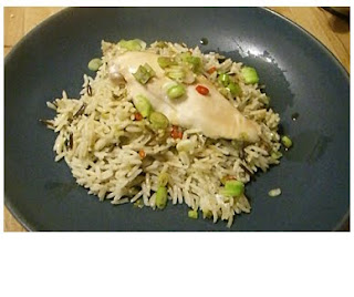 ginger and sesame rice with poached chicken