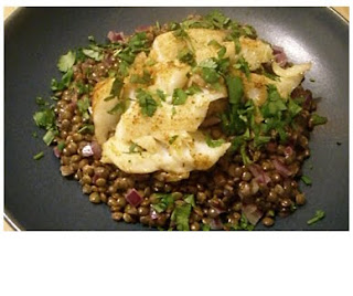roasted cod on spiced puy lentils