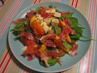 mozzarella, peach, basil and parma ham salad