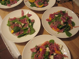mozzarella, peach and parma ham salad