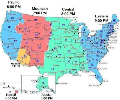Us Map With State Abbreviations And Time Zones - Map showing us time zones