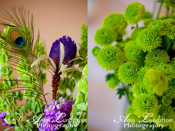 Purple and Green Wedding Theme Peacock Feather Bouquet and Boutiniers