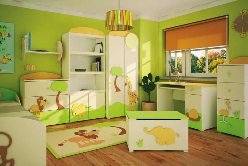Дизайн зеленой комнаты