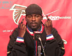 Michael Vick during an Atlanta Falcons news conference.