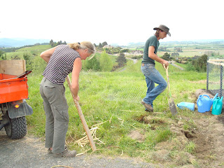 Jacques and Joni working to complete a vegetable garden