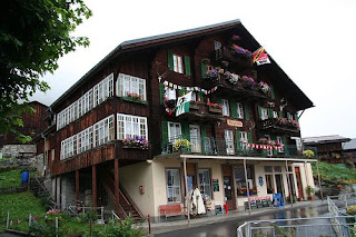 Swiss chalet decorated with flowers