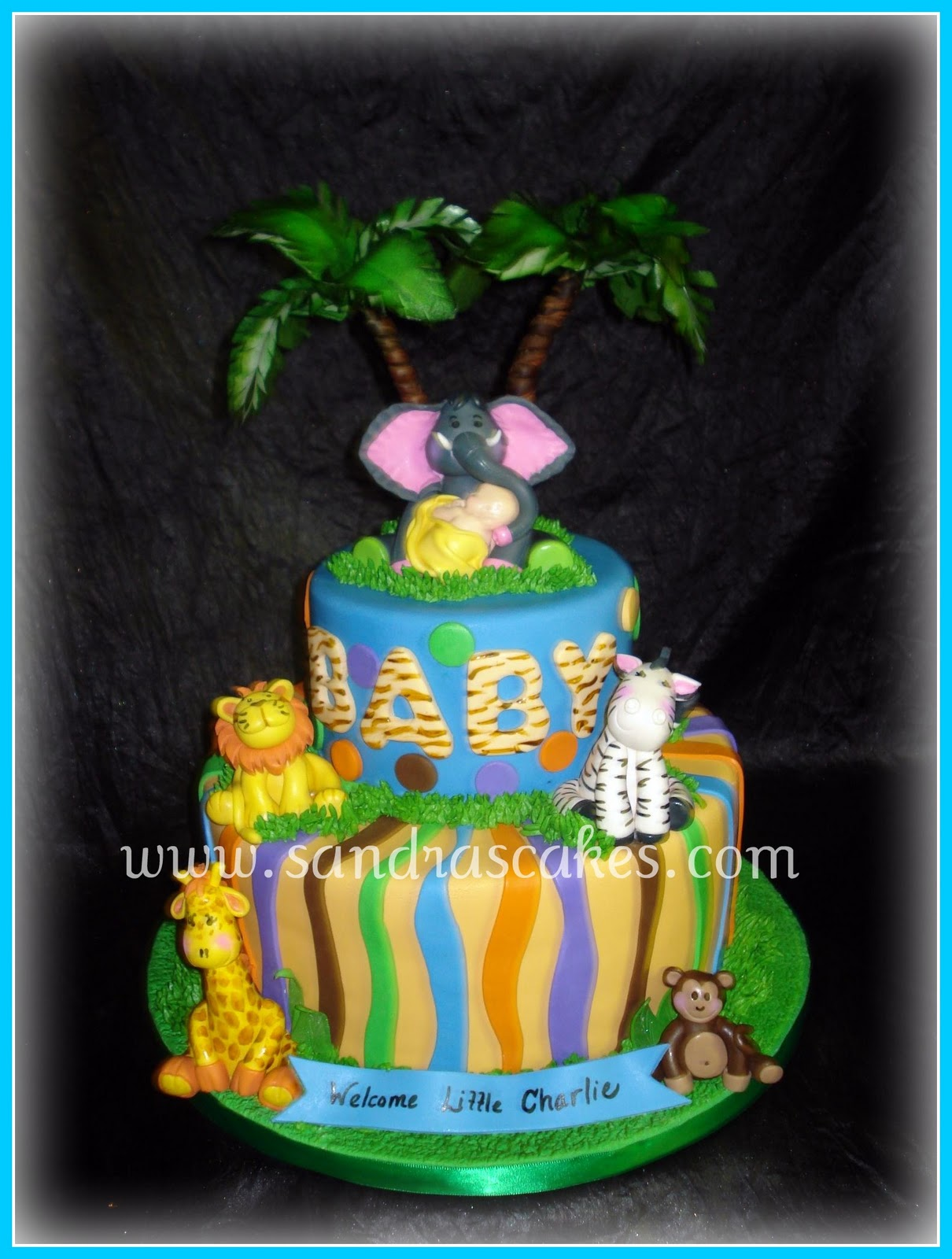 sandra 39 s cakes jungle themed baby shower cake