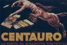 Il manifesto pubblicitario per le cartine da sigaretta Centauro