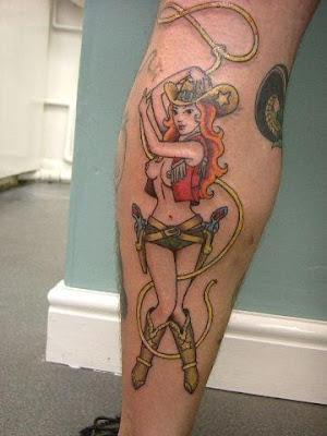 Lucky tattoo theresa gordon wade cowgirl pin up old school for Old school pin up tattoos