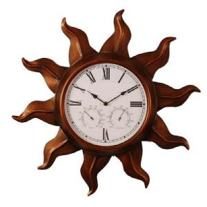 wall clocks copper finish sun shaped indoor or outdoor