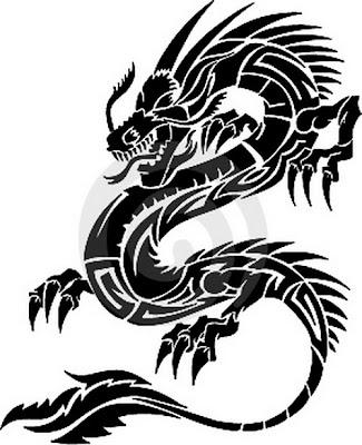 Japanese Tribal Dragon Tattoos