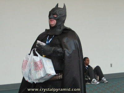 Fat Bat Man cruising the lobby - Photo by San Diego video producer Patty Mooney of Crystal Pyramid Productions