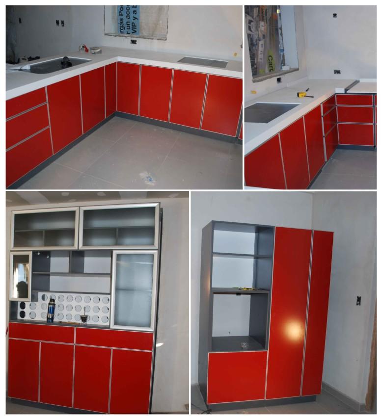 EGDI  Amoblamientos Cocina en Rojo y Gris Grafito