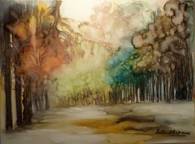 encre sur toile aquarellée