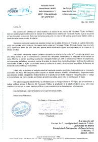 Carta enviada al consejero