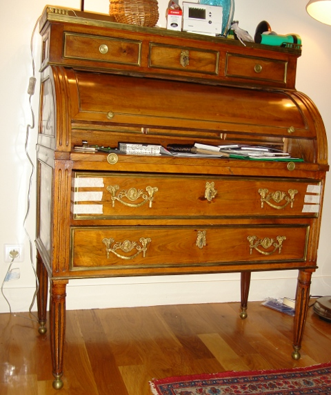 restauration de meubles bureau cylindre acajou r paration des laitons et vernis au tampon. Black Bedroom Furniture Sets. Home Design Ideas