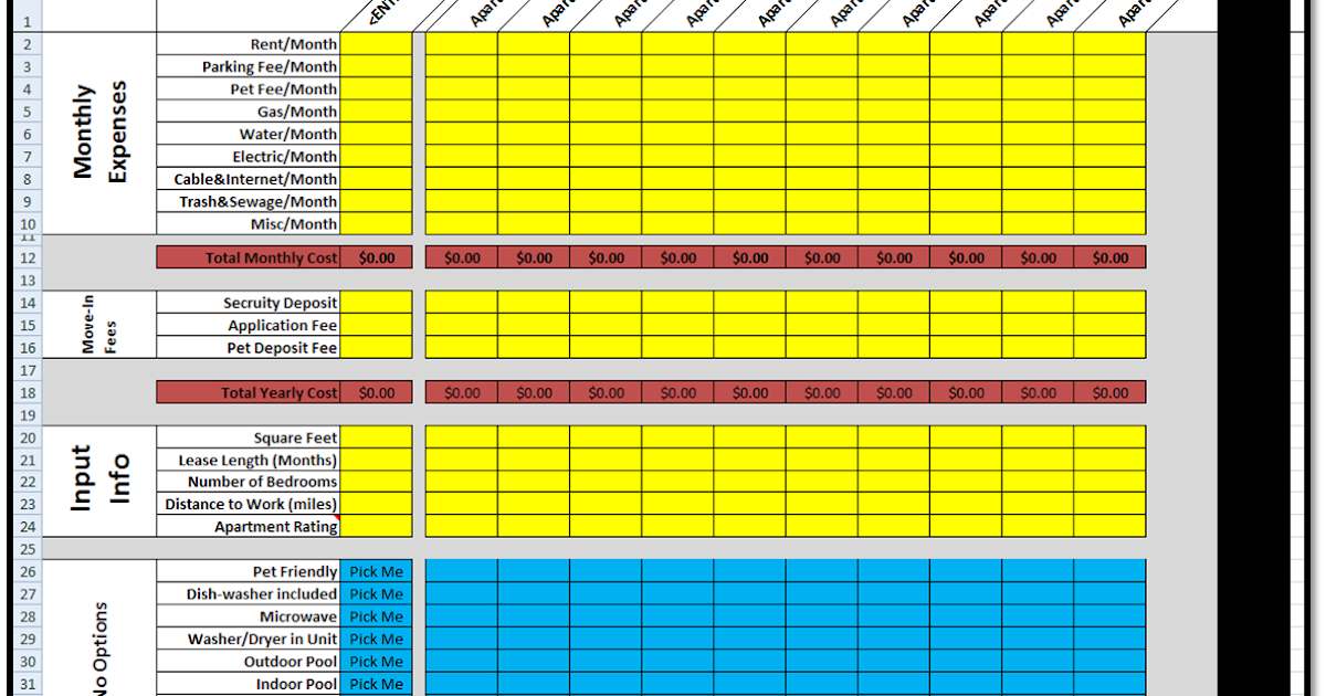 excel spreadsheets help  new apartment search rating spreadsheet