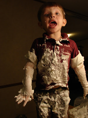 Messy sensory play with shaving cream