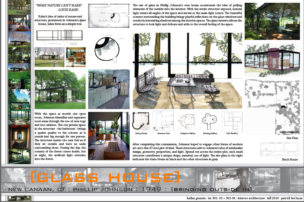 Third year iarc great houses for The glass house plan
