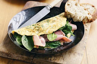Christmas Ham and spinach omelette