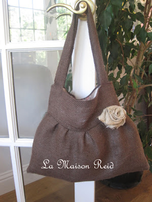 Chocolate Brown Burlap Purse