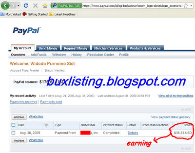 PTC earnings - payment proof