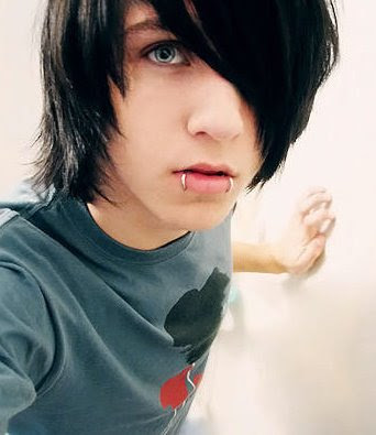 black hair blue eyes emo