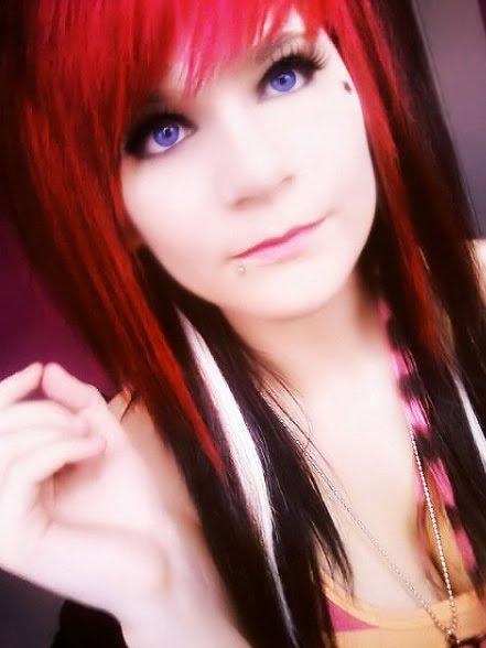 hair emo black red