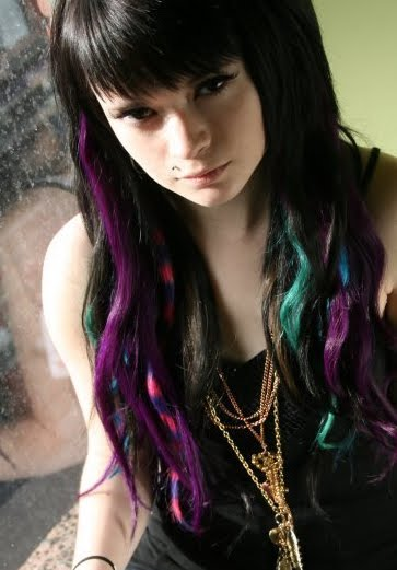 Black hair with purple and blue streaks and some coontails