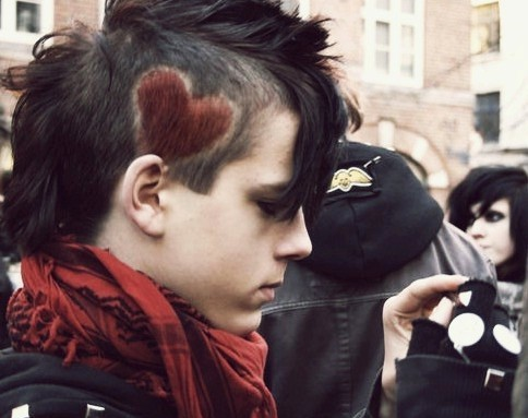 black hair emo guy. Cool emo punk hair with red