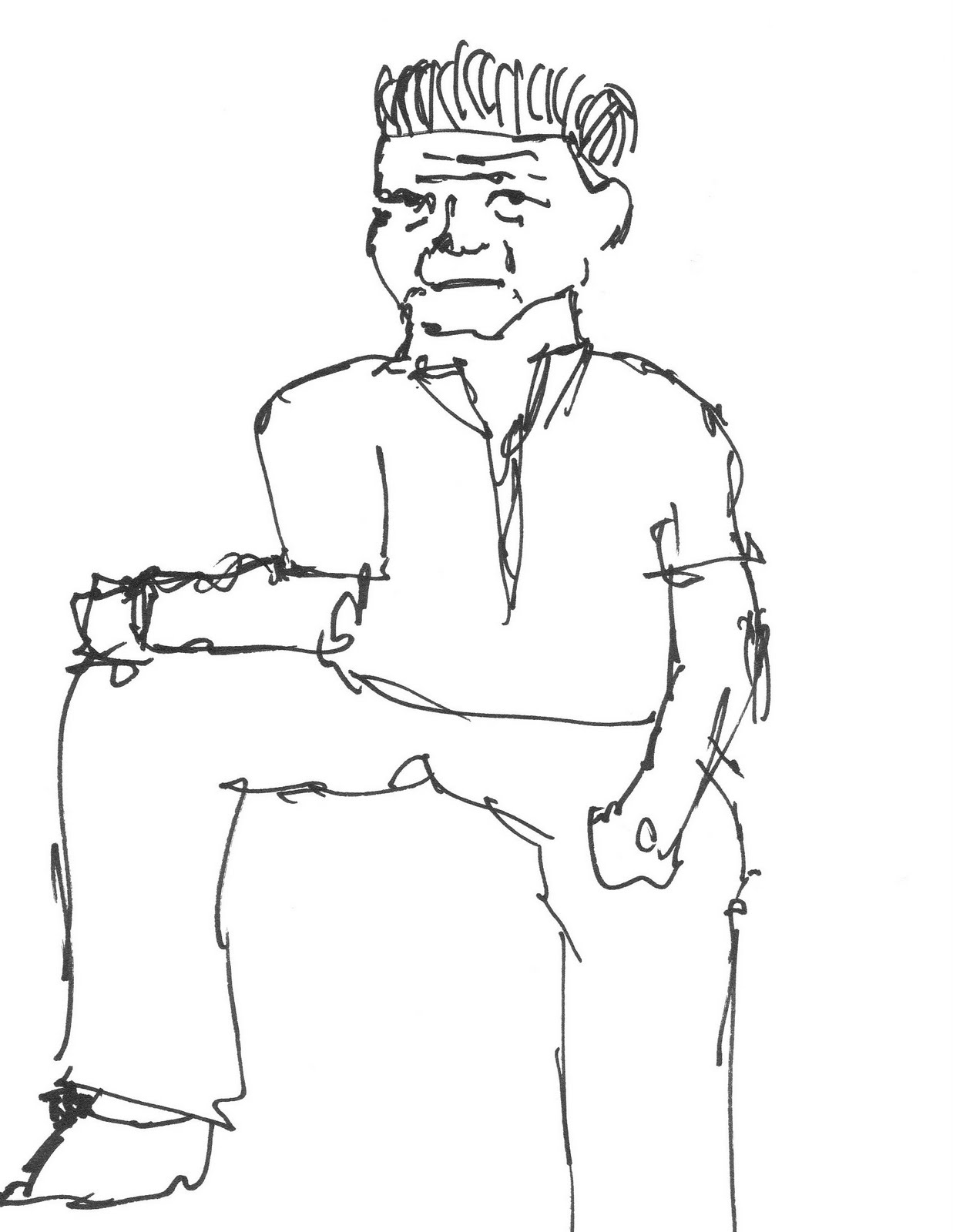 how to draw sitting people