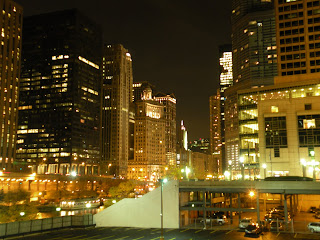 The Chicago Riverfront at night