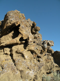 Lava Beds National Monument, wind eroded volcanic rock at the top of Petroglyph Point