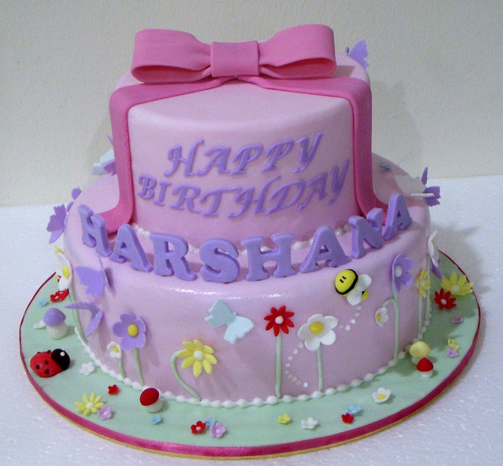 Bearylicious Cakes Floral And Pink Bow Garden Birthday Cake