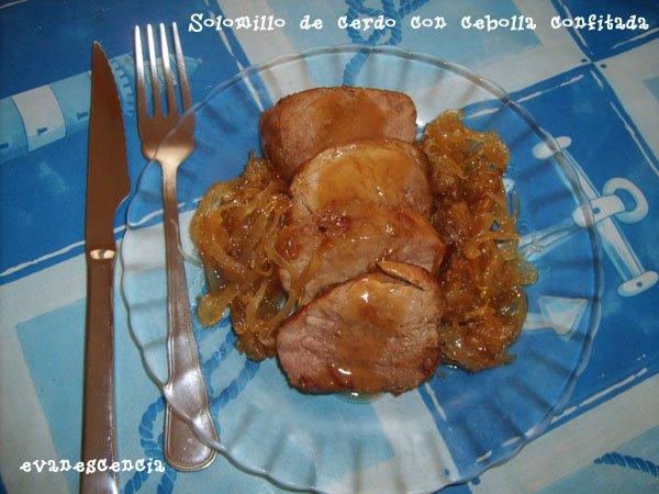 solomillo de cerco con cebolla confitada