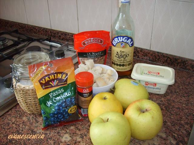 ingredientes para el relleno del strudel