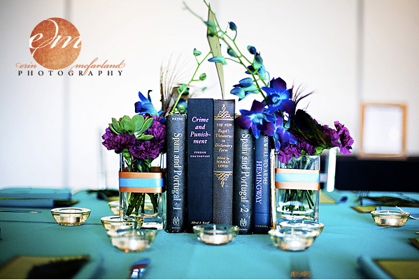out there looking to incorporate books into your wedding centerpieces