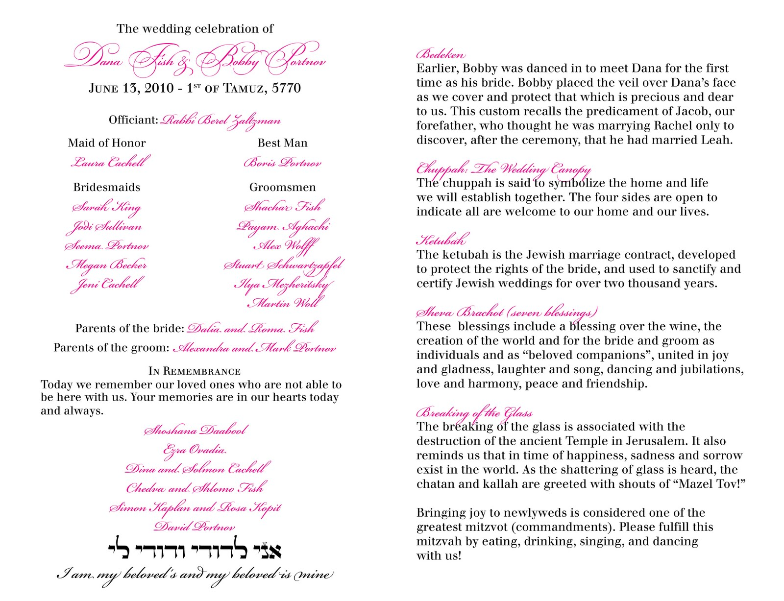 Sample Wedding Renewal Programs For A Ceremony