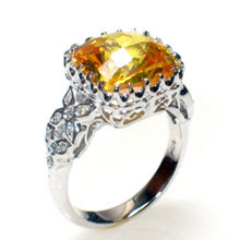 Citrine and White Gold Ring